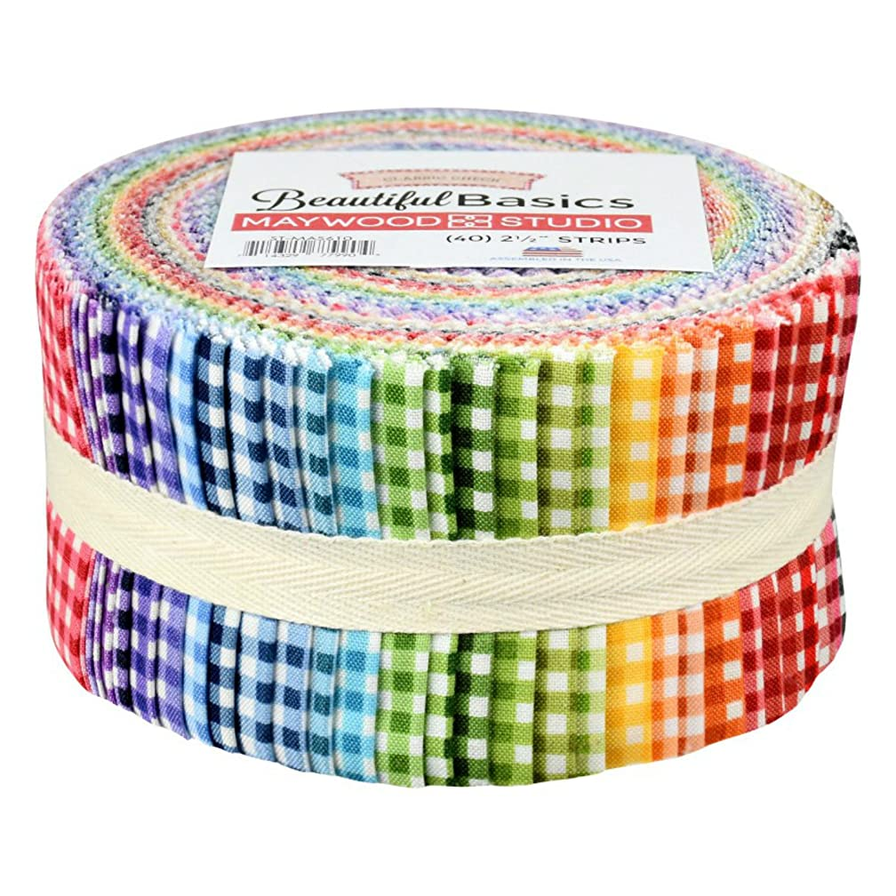 Beautiful Basics Classic Check Precut Quilting Strips of Fabric Jelly Roll 40 2.5-inch by Maywood Studio