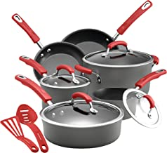 Rachael Ray 87661 Brights Hard Anodized Nonstick Cookware Pots and Pans Set, 12 Piece, Gray with Red Handles