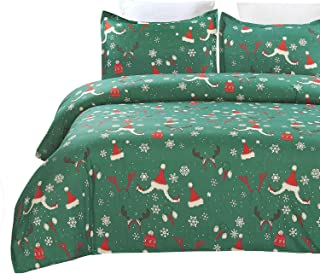 Vaulia Lightweight Microfiber Duvet Cover Set, Well Designed Pattern for New Year Decorations, Green Color - Queen