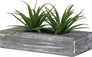 MyGift Artificial Grass Plants in Rustic Gray Wood Planter Box