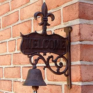 UD Fleur De Lis Welcome Dinner Bell Rustic Cast Iron
