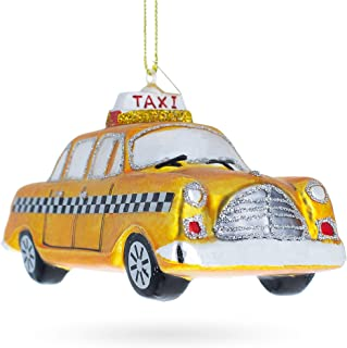 BestPysanky Yellow Taxi Blown Glass Christmas Ornament