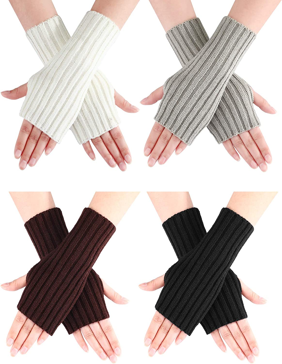 Bememo 4 Pairs Women Long Fingerless Gloves Winter Mitten Arm Gloves with Thumb Hole