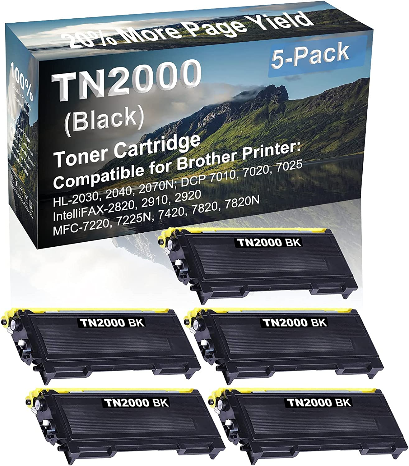 5-Pack Compatible High Capacity MFC-7220, 7225N, 7420, 7820, 7820N Printer Toner Cartridge Replacement for Brother TN2000 Printer Cartridge (Black)