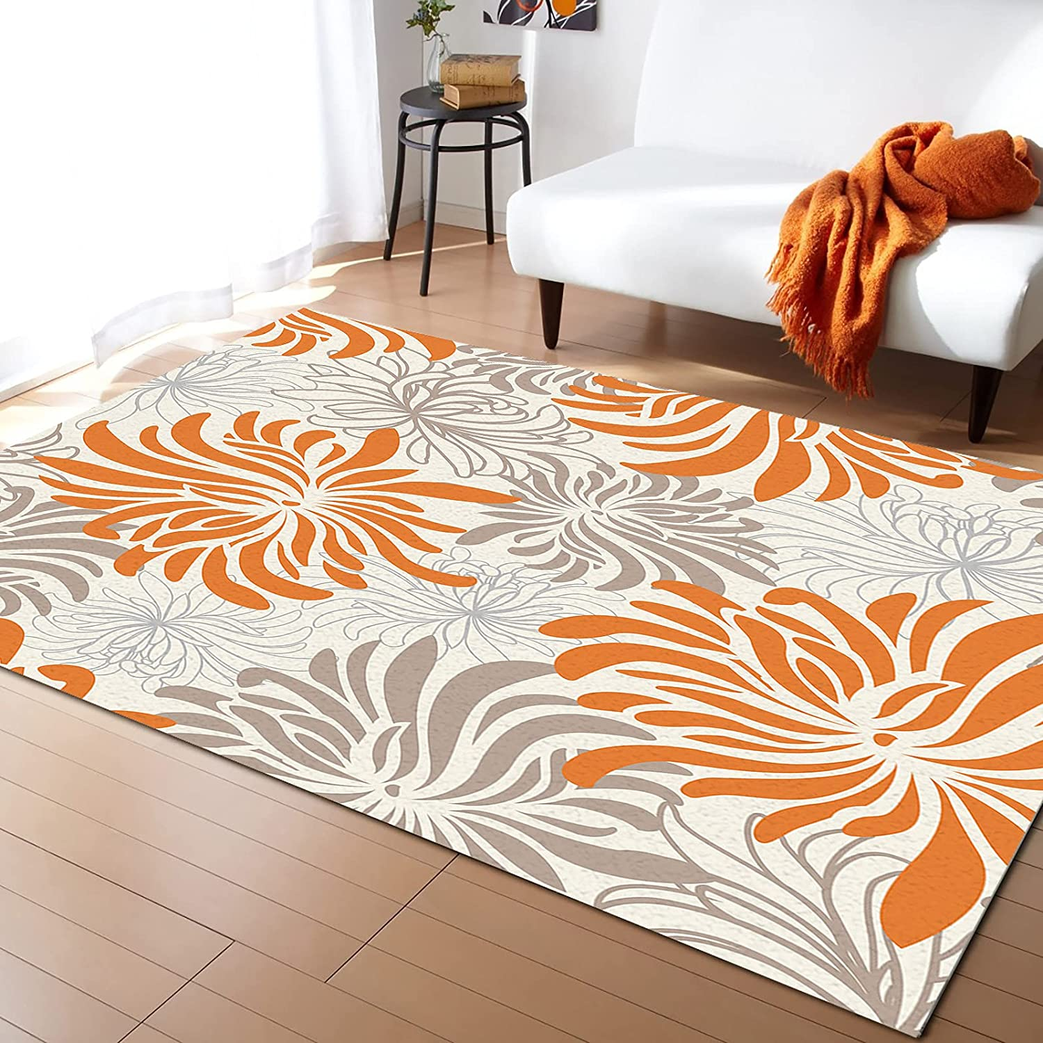 LEOSUCRE Product Large Area Rugs 5' x T Chrysanthemum Super popular specialty store White and 7' Black