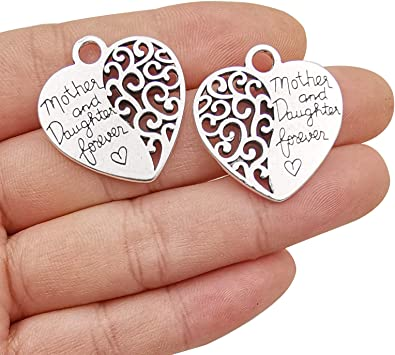 20pcs Craft Supplies Heart The Love Between Mother and Daughter is Forever Charms Pendants for Jewelry Making Crafting Findings Accessory for DIY Necklace Bracelet Earrings 10341
