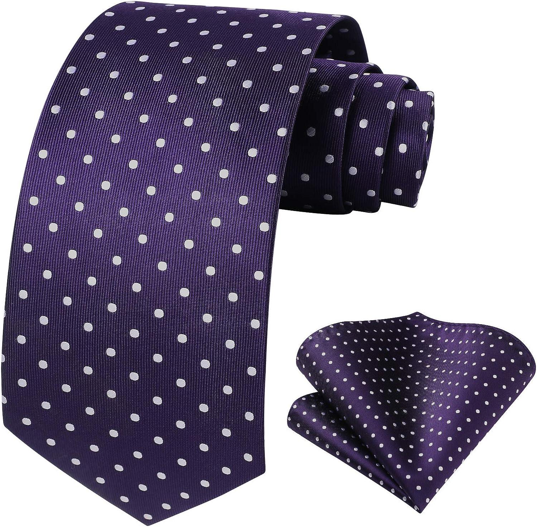 HISDERN Polka Dot Ties for Men Handkerchief Woven Classic Silk Mens Ties and Pocket Square Set Wedding Business
