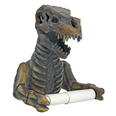 Design Toscano JQ9551 T. Rex Dinosaur Skeleton Bathroom Toilet Paper Holder, Multicolor