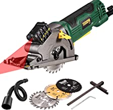 "Mini Circular Saw with Laser, TECCPO 4.0A 3-3/8"" Compact Circular Saw, 3500 RPM Fine Copper Motor, Scale Ruler, 3 Blades for Wood, Tile, Soft Metal and Plastic Cuts - TAPS22P"