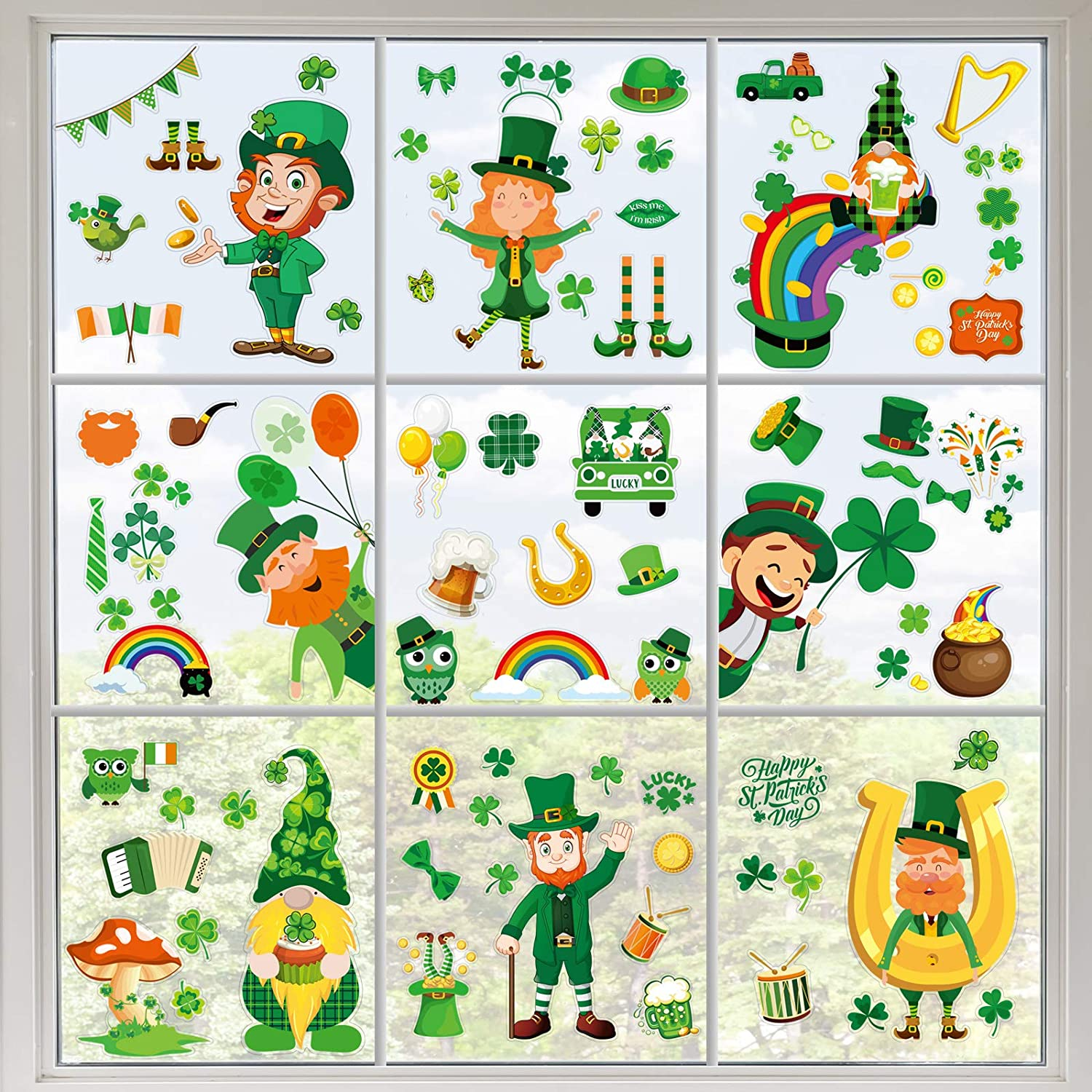 St. Patrick's Day Window Static Memphis Mall Max 90% OFF Clover Stickers Clings