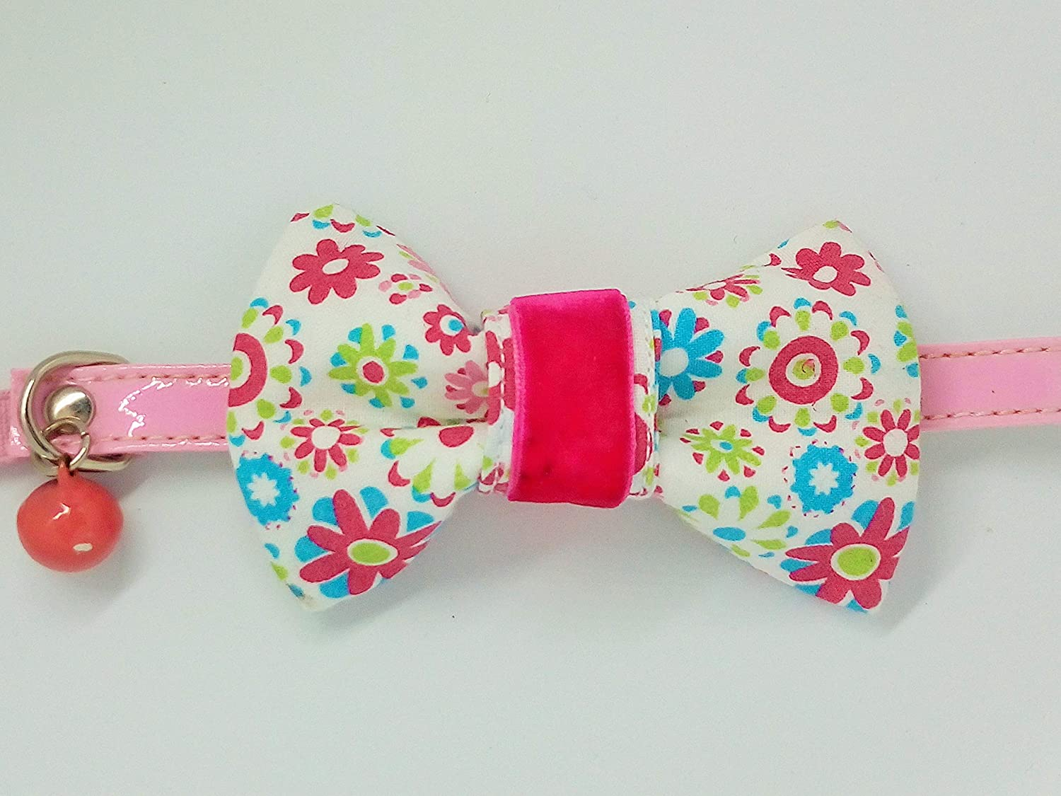 LINDA POMS 2 Girl Bow Tie for Dogs Collar Floral Cat Attachment Small Pink Bowtie Puppies Decorative Neckties Slides Accessories Charms Grooming Costumes Cotton
