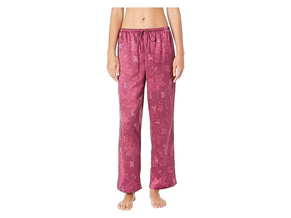 LAUREN Ralph Lauren Tonal Satin Notch Collar Pajama Set (Red) Women