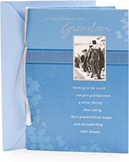 Hallmark Graduation Card for Grandson (Blue Ivy and Silver Tassel)