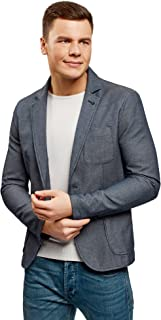 oodji Ultra Hombre Chaqueta de Tejido Texturizado con Bolsillos de Parche