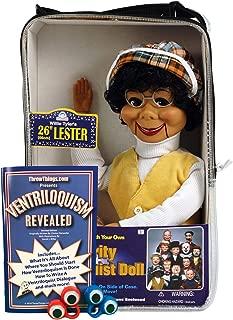 ThrowThings.com Bonus Bundle! Lester Ventriloquist Dummy Doll Plus Ventriloquism Revealed Booklet Plus Two Finger gEyes