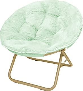 Beau Urban Shop Faux Fur Saucer Chair With Metal Frame, One Size, Mint