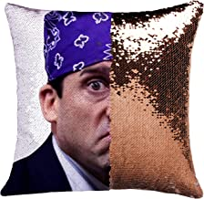 K T One The Office Prison Mike Mermaid Sequins Pillow Cover, Magic Reversible Throw Pillow Case Without Insert Change Colo...
