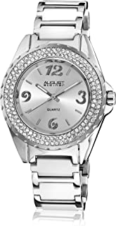 August Steiner Women's AS8036WT Crystal Accented Ceramic Bracelet Watch