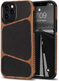 Tasikar Compatible with iPhone 12 Pro Max Case Easy Grip Wood Grain with Nylon Fabric Leather Design Hybrid Slim Case