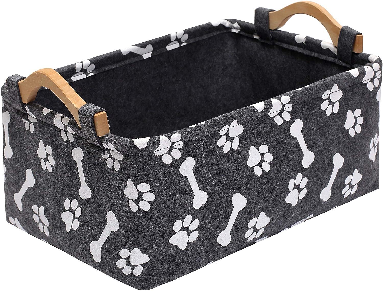 Geyecete Dog Toy Box bin Storage Basket Bins - with Wooden Handle, Printing Felt Pet Supplies Storage chests and Trunks Kids Toy Chest Storage Trunk