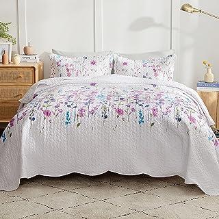 Bedsure Floral Quilt Sets Queen Light Purple -...