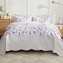 Bedsure Summer Bedspread Queen Quilt, Lightweight Purple Floral Bed Spread Clearance Full/Queen Size with 1 Coverlet and 2 Pillow Shams