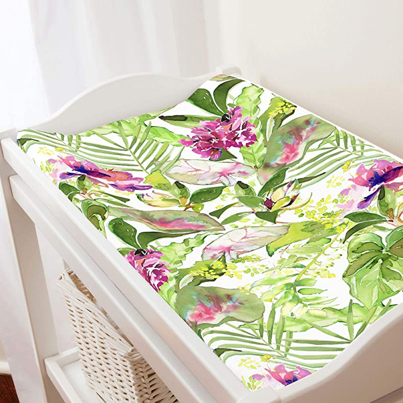 Carousel Designs Tropical Garden Changing Pad Cover Organic 100 Cotton Change Pad Cover Made In The USA