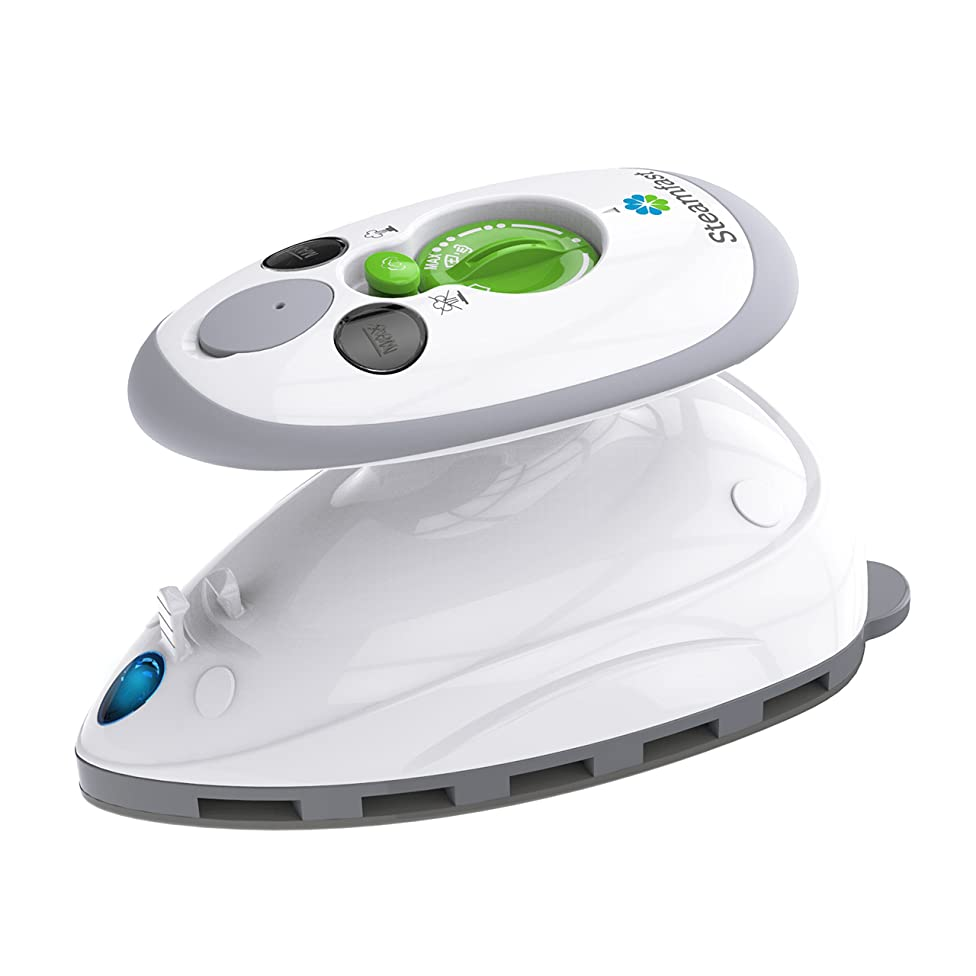 Steamfast SF-717 Mini Steam Iron with Dual Voltage Travel Bag, Non-Stick Soleplate, Anti-Slip Handle, Rapid Heating, 420W Power, White