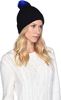 Multicolored Sheepskin Pom Knit Hat