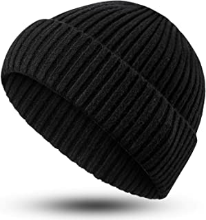 Syhood Winter Beanie Knit Hat Warm Slouchy Stretchy Soft Headwear Daily Ribbed Cap Beanie Hat for Men Women