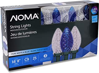NOMA LED Christmas Lights   25-Count C9 Blue and Clear Pure White Bulbs   16' 8