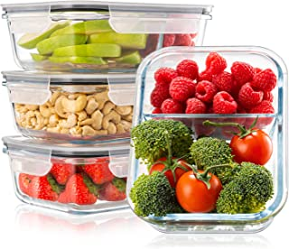 Lot de 4 Boite Repas Verre Lunch Box, 2 Compartiments Hermetiques, Taille XL 1040 mL - Boite Repas Bento Box en Verre et s...