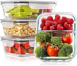 Lot de 4 Boite Repas Verre Lunch Box, 2 Compartiments Hermetiques, Taille XL 1040 mL - Boite Repas Bento Box en Verre et sans BPA - Meal Prep Cuisson, Conservation, Congelation Alimentaire