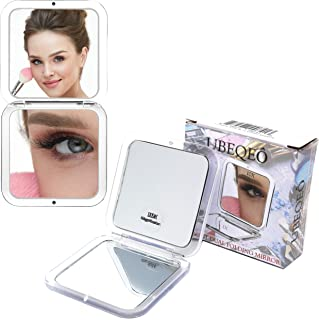10x Magnifying Compact Folding Double Mirror | Makeup & Beautifying Mirror + Magnification for Blackheads/Blemishes/Hair R...
