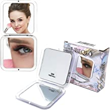 10x Magnifying Compact Folding Double Mirror   Makeup & Beautifying Mirror + Magnification for Blackheads/Blemishes/Hair Removal  Pocket Size, Double-Sided, Lightweight ● Perfect for Travel