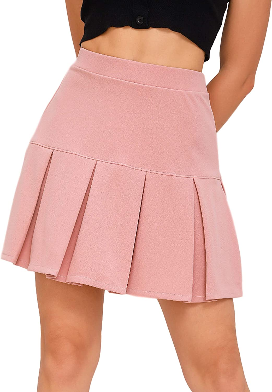Uaneo Womens Casual Solid Pleated Elastic High Waist A-Line Skater Mini Skirts