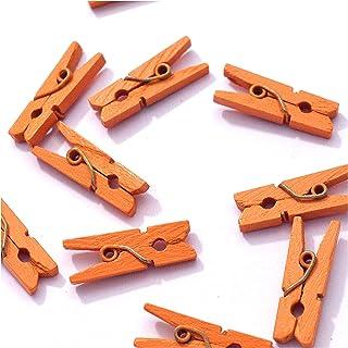 10 Petites Mini Pinces à Linge en Bois Couleurs Fournitures Attache Clip Miniature (Orange)