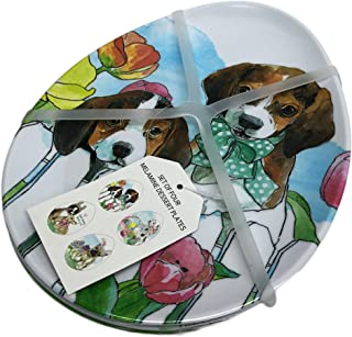Set of Four Cute Easter Dogs Novelty Egg Shaped 100% Melamine Salad Dessert Appetizer Treat Plates (Pups)