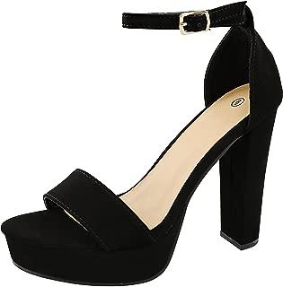 Women's Open Toe Single Band Ankle Strap Chunky Platform High Heel Sandal