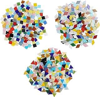 Belle Vous Tesselles en Verre Colorées 3 Formes (600 pcs/480 g) - Carreaux de Mosaique Diamants (2 x 1,2 cm) Triangles (1,...