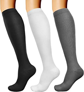 Compression Socks for Women & Men Long Athletic Socks Knee High 15-20mmhg Best for Athletic Running 3 Pairs