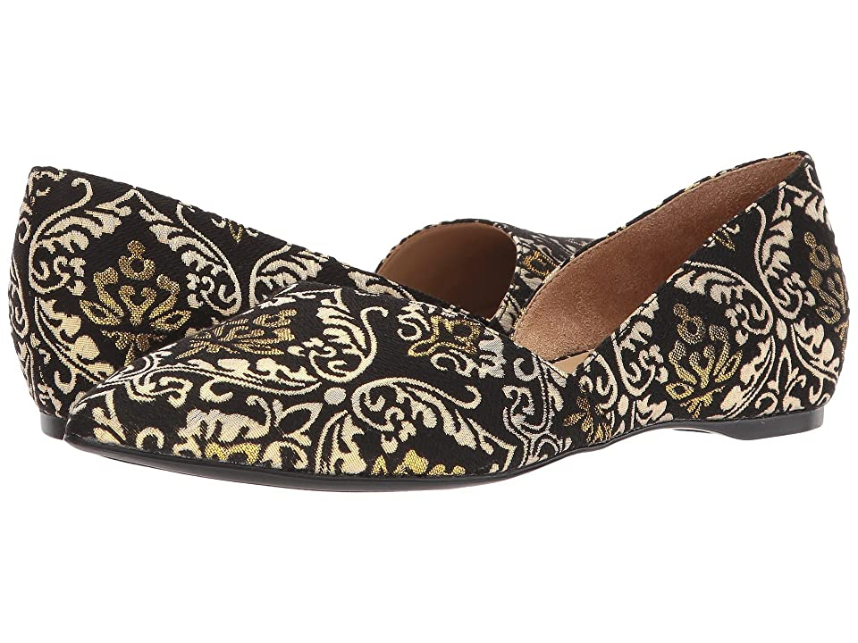 Retro Vintage Flats and Low Heel Shoes Naturalizer Samantha BlackGold Brocade Womens Flat Shoes $89.00 AT vintagedancer.com