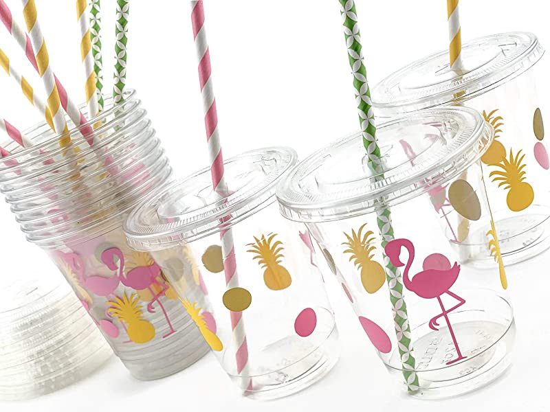 Flamingo Pineapple Disposable Party Cups 12 Set