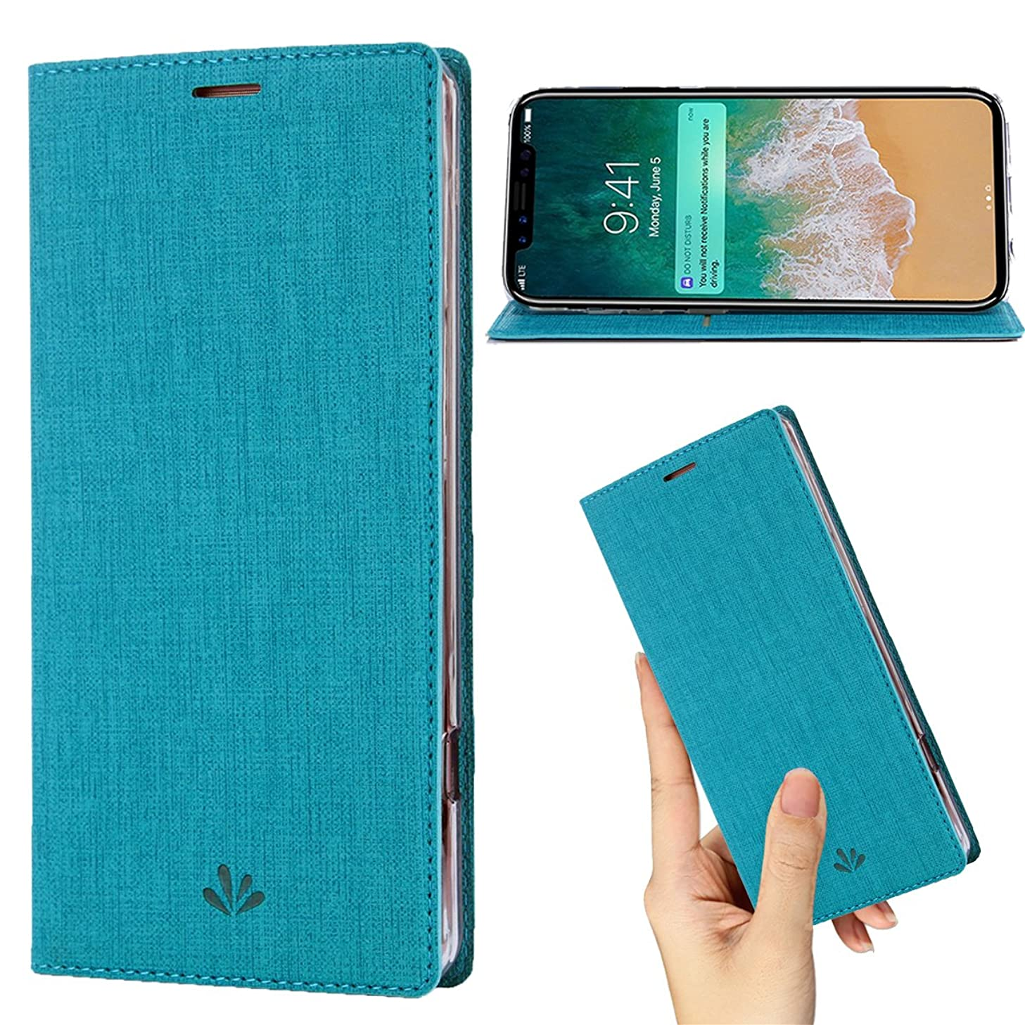 DLHLLC iPhone Xs Case,iPhone X Case,Premium Flip Leather Wallet Phone Case Kickstand Stand Card Slot Full Body Shockproof Protective Cover Inner Clear TPU Thin Case for Apple iPhone Xs 2018 (Blue)