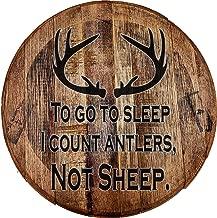 Whiskey Barrel Head I Count Antlers Not Sheep Deer Hunters Prayer Wall Decor Bar Sign Man Cave