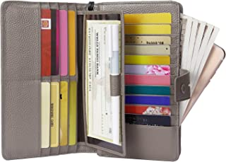 AINIMOER Women's Big RFID Blocking Leather Zip Around Wallets for Womens Clutch Organizer Checkbook Holder Large Travel Purse