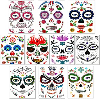 kiiier 10Pcs Halloween Face Tattoo Stickers, Fashion Skull Temporary Stickers and Decals Trendy Waterproof Stickers Tattoo for The Dead Sugar Skull Face Tattoo Sticker for Halloween Gifts