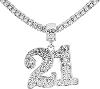 White Gold-Tone Hip Hop Bling Simulated Crystal Lucky Charm Number 21 Pendant with 20
