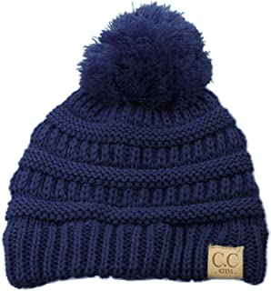 Kids Ages 2-7 Pompom Chunky Thick Stretchy Knit Slouch Beanie Cap Hat
