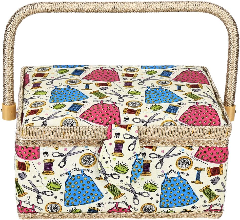 Double-Layer Design Sewing Basket with Handle for Handwork,Home,Storage Bewinner Polyester Sewing Baskets Sewing Tools Organizer Box Green Needle Thread Wooden Bottom Board Sewing